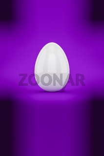 a white easter egg on purple background