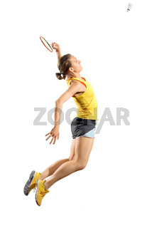 Young woman badminton player isolated on white