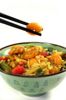 Reis mit Asia-Garnelen