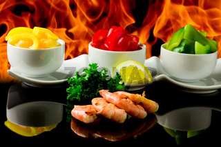 Grilled Prawns over flames