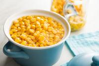 Corn seeds in pot.