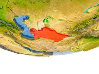 Turkmenistan in red on Earth model