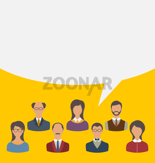 Unity of business people team with speech bubble, modern flat ic