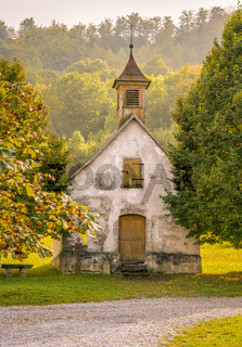 Old German church in autumnal decor