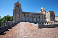 The view of Cathedral (Se) of Evora from the roof of the cloister. Evora. Portugal.