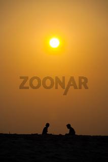 Two People Silhouette Beach Orange Sunset Sun Sky