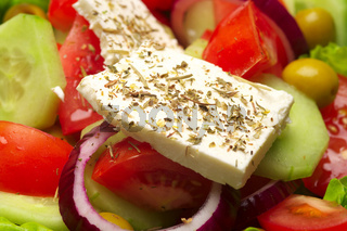 Closeup view of fresh greek salad