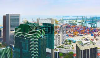 Singapore industrial port area