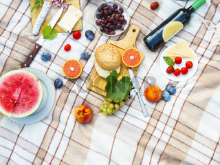 Top view summer garden picnic. Summer party
