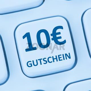 10 Euro Gutschein Geschenk Rabatt Online Shopping einkaufen Internet