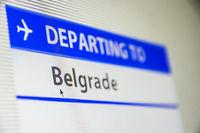 Computer screen close-up of flight to Belgrade, Serbia