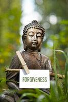 Buddha mit dem Wort Forgiveness