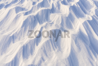 verblasene Schneeformationen (Sastrugi), Riisitunturi Nationalpark, Lappland