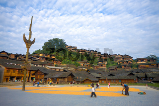 Xijiang Miao Minority Village Town Square Houses