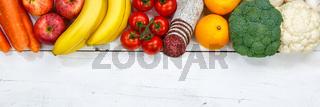 Obst und Gemüse Sammlung Lebensmittel Früchte essen kochen Zutaten Banner Textfreiraum von oben