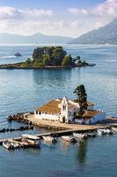 Korfu Corfu Griechenland Vlachernon Vlacherna Kirche Kanoni Hochformat Insel Reise Meer