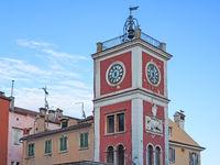 Altstadt von Rovinj, Kroatien, mit Uhrenturm