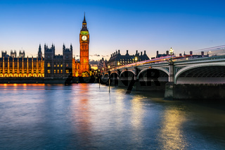 Big Ben, Queen Elizabeth Tower and Westminster Bridge Illuminated in the Evening, London, United Kingdom