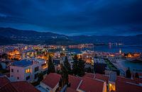 Dusk over Budva in Montenegro