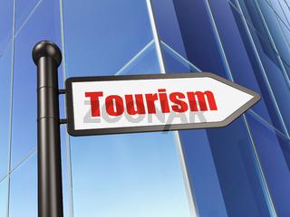 Tourism concept: sign Tourism on Building background