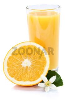 Orangensaft Orangen Saft Orange Fruchtsaft Glas Hochformat freigestellt Freisteller isoliert Frucht Früchte