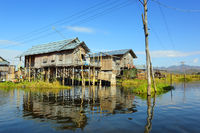 Stilted houses in village on Inle lake