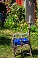 Rattan chair in the garden
