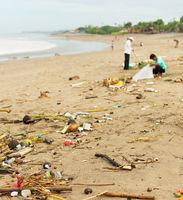 Polluted ocean beach. Bali