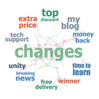 Text Changes. Business concept . Word cloud collage. Background with lines and circles