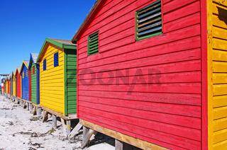 Bunte Badehäuschen von Muizenberg, Südafrika, colorful beach cabins, Muizenberg, South Africa