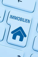 Immobilie Immobilien kaufen verkaufen online Computer blau web