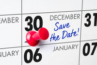 Wall calendar with a red pin - December 30