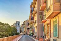 Monaco Ville colorful building architecture sunrise city skyline, Monte Carlo, Monaco
