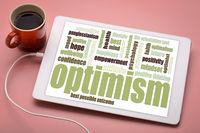 optimism word cloud on tablet