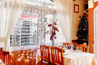 Restaurant interior with Christmas decorations
