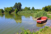 fishpond with red boat
