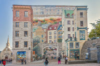 Wall mural, Notre Dame street, Quebec City,  Canada