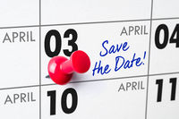 Wall calendar with a red pin - April 03