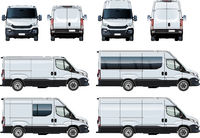 Vector vans set template isolated on white