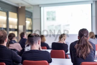Audience in the lecture hall listening to academic presentation.