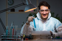 Medicine drug researcher working in lab