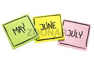 May, June  and July on sticky notes