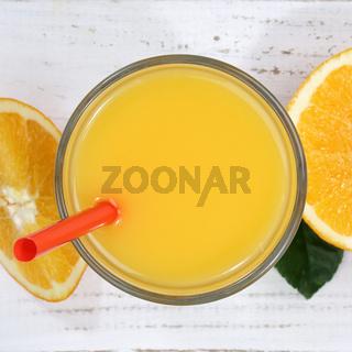 Orangensaft Orangen Saft Orange Fruchtsaft von oben Quadrat Frucht Früchte