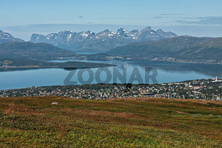 Mountains view and fjord in Tromso, Norway