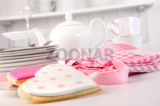 Pink heart-shape cookies for Valentine's Day
