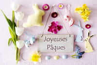 Easter Flat Lay, Joyeuses Paques Means Happy Easter