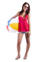 Woman with a beach ball