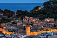 Old Town of Tossa de Mar at dusk on Costa Brava in Catalonia