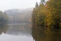 Herbststimmung am Wasser Elbings Talteich im Harz
