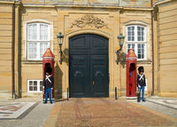The Royal Guards in front of Amalienborg Palace in Copenhagen.